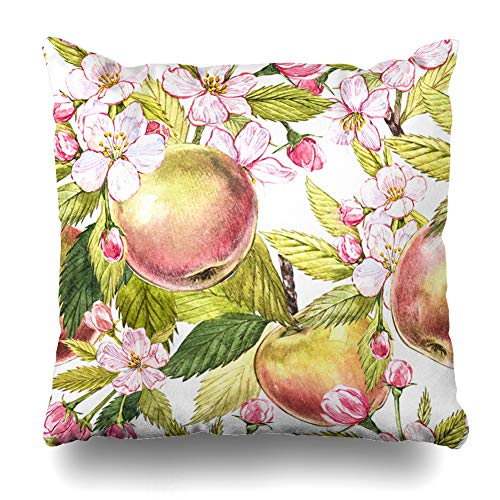 Ahawoso Throw Pillow Cover Blooming Blossom Apple Flowers Hand Drawn Agriculture Watercolor Tree Autumn Bloom Design Garden Decorative Cushion Case Square 18