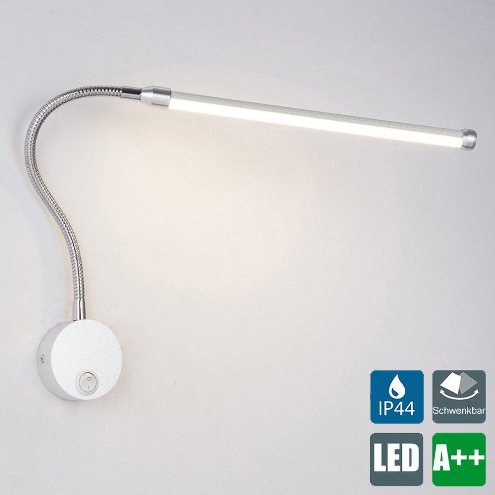 LED Leseleuchte, 6W Nachttischlampe, Flexibles Bettleuchte, Soft Tube Schwanenhals Lampe, Wandstrahler, Wandspot, Wandlampe, inkl. Schalter, in nickel matt, IP44, 230V, 600 Lumen (Led-3000k) [Energieklasse A++] YOLO-Leseleuchte