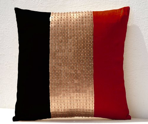 Amore Beaute Handmade Decorative Throw Pillow Covers in Color Block - Red, Black, Gold Stripe Color Block in Dupioni Art Silk with Sequin and Beads Detail- Cushion Covers - Sequin ()