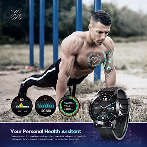 GOKOO Smart Watch Men, Smart Watches Fitness Tracker Mens with Blood Pressure Monitor Heart Rate Sleep Compatible with iOS and Android Phones Waterproof Pedometer Calorie Counter Running 2