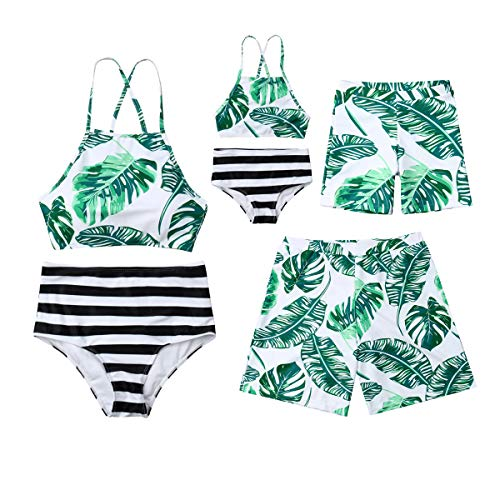 Family Matching Leaves Print Swimwear Mommy Daddy and Me Swimsuit Parent-Child Bikini Trunks Set Bathing Suit Dad L -