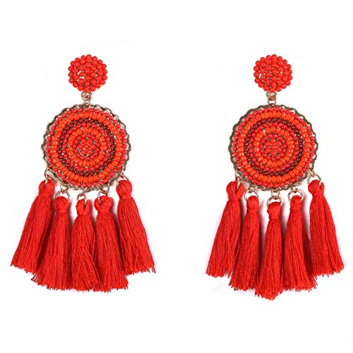 RIVERTREE Beaded Tassel Earrings for women - Red Chandelier Seed Beads Statement Fringe Disc Top Dangle Drop Earring Boho ()