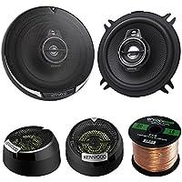 2 Pair Car Speaker Package Of 2x Kenwood KFC-1395PS 5 1/4 320-Watt Black Audio Coaxial Speaker Bundle With Kenwood KFC-ST01 1 Inch 160-Watt Dome Tweeters+ Enrock 16g 50Ft Speaker Wire