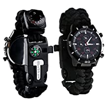 Survival Bracelet Watch, Men & Women Waterproof Emergency Survival Watch with Paracord/Whistle/Fire Starter/Scraper/Compass and Thermometer, 6 in 1 Multifunctional Outdoor Gear