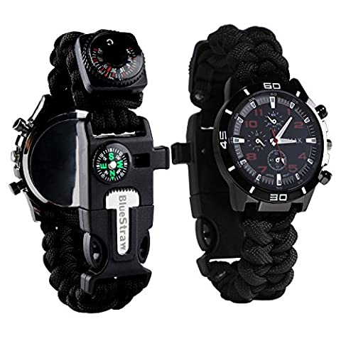 Survival Bracelet Watch, Men/Women Waterproof Emergency Survival Watch with Paracord Whistle Fire Starter Scraper Compass and Thermometer, 6 in 1 Multifunctional Outdoor Gear (Water Proof Watches Ladies)