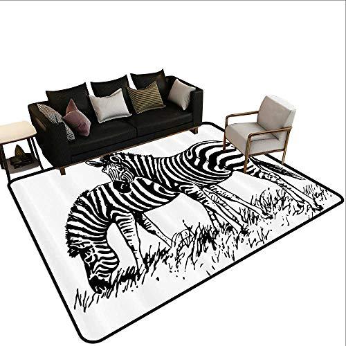 Skid-Resistant Rug Wildlife Decor Zebra Sketch Virtue Couple Eating Grass on Field Minimalist Zoo Nature Art Children Crawling Bedroom Rug5'6 x8'6 Black ()