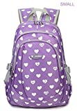 Hearts Print Little Girls School Backpacks For Kindergarten Kids Preschool School Bags Bookbag (Small,Purple 2)