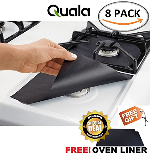 Gas Range Protectors 8 Pack FREE Oven Liner - Stove Protector Cook Top Liners Hob Burner Covers 2mm Heavy Duty Reusable Easy to Clean Non Stick BPA & PFOA Free FDA Approved Prime ✔ FREE GIFT
