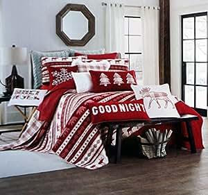 Max Studio Reversible Full / Queen Quilt Red White Plaid Geometric Design Reindeer Bear Moose Winter