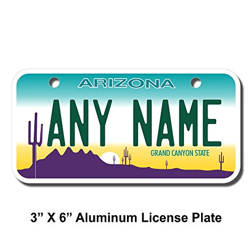 TEAMLOGO Personalized Arizona License Plate - Sizes for Kid's Bikes, Cars, Trucks, Cart, Key Rings Version 1 (3 X 6 Aluminum License Plate) ()
