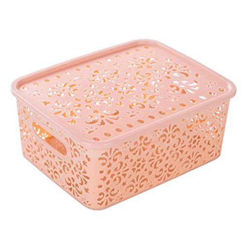 Storage Box ,IEason Clearance Sale! Plastic Storage Basket Box Bin Container Organizer Clothes Laundry Home Holder (Pink)