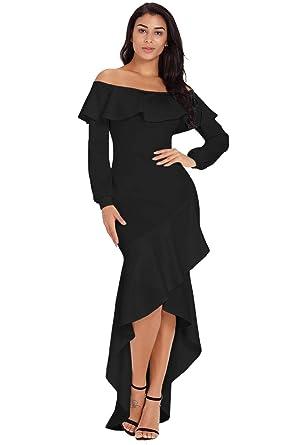 fdbdb84d185b Women's Off Shoulder Lantern Sleeve Asymmetric Ruffle Hem Evening Dress  Black Small
