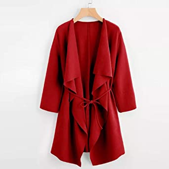 ❤ Chaqueta de Mujer Rompevientos, Abrigo de Abrigo Frontal de Bolsillo de Cuello de Cascada Casual Outwear Absolute: Amazon.es: Ropa y accesorios