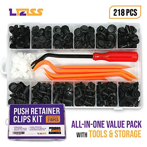 LIZISS 218 Pcs 'Value Pack' Car Push Retainer Clips Kit – Auto Plastic Fasteners, 11 Sizes Push Rivet + 2 Sizes Door Trim Panel Retainer + Removal Tools for GM Ford Toyota Honda Chrysler Nissan