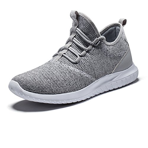 CAMEL CROWN Men's Trail Running Shoes Knit Breathable Casual Sneakers Lightweight Athletic Walking Shoes(Grey/8 US)
