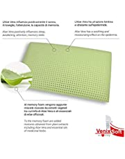 venixsoft Memory Foam Pillow (heat sensitive), lympha of Aloe Vera with anti-inflammatory properties-Medical Device Class I, Deduction of 19%-with pillowcase in pure cotton, Made in Italy