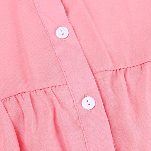 Wolfleague Taille S T Chemise Dcontracte Chemises Soie Grande ~ Femme Mesdames lgant 5XL Couleur de Manche Shirt Mousseline OL Longue Chemisier Haut Unie Rose Revers Femme pBqrzwp