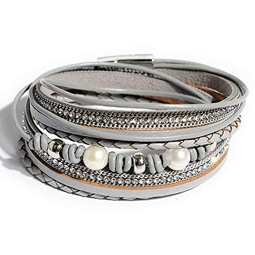 Pearl Charm Grey - Artilady Shinning wrap Clasp Bangle for Women (Light Grey with Pearl)