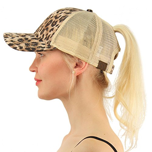 - C.C Ponytail Messy Buns Trucker Ponycaps Plain Baseball Visor Cap Dad Hat Leopard