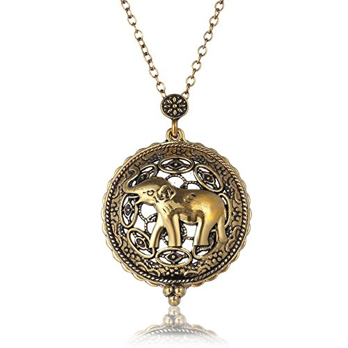 [WayOn Pendant Necklace 5x Magnifier Magnifying Glass Sliding Top Antiqued Gold Elephant Christmas Gift,25