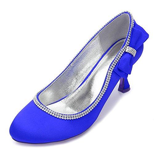 L@YC Mujeres 17061-39 Bombas Closed Toe Mid Heels Prom Ribbon Tie Zapatos de la corte del banquete de boda Blue