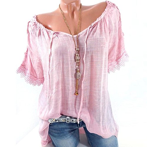 FEITONG Women Short Sleeve Lace Patchwork T Shirts Off Shoulder Loose Blouse Tops Shirt(Medium,Pink) (Peasant Blouse)