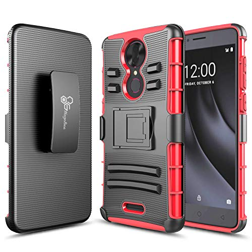 REVVL Plus Case (T-Mobile) NageBee Belt Clip Holster Defender Heavy Duty Shockproof Kickstand Dual Layer Combo Rugged Armor Durable Ultra Protection Case -Red