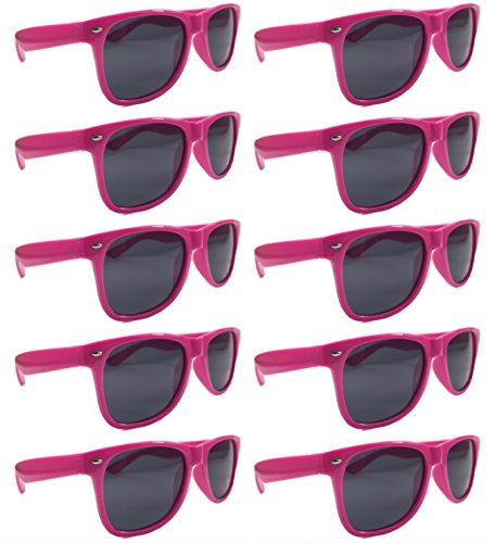 BULK UNISEX SUNGLASSES- Retro Neon Party Style (Weddings, Promotions, Birthdays) (Hot Pink) by Ten4OneShades