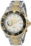 Invicta Men's 13704 Grand Diver Automatic White Textured Dial Two Tone Stainless Steel Watch, Watch Central