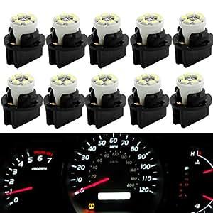 Partsam T10 194 LED Light bulb 168 LED Bulbs Bright Instrument Panel Gauge Cluster Dashboard LED Light Bulbs Set 10 T10 LED Bulbs with 10 Twist Lock Socket – White
