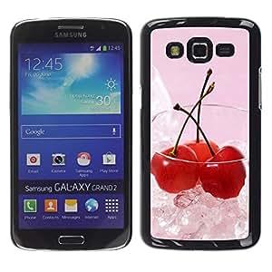 Caucho caso de Shell duro de la cubierta de accesorios de protección BY RAYDREAMMM - Samsung Galaxy Grand 2 SM-G7102 SM-G7105 - Fruit Macro Ice Cherry