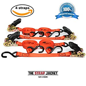 Ratchet Tie Down Straps | 4 pk Heavy-Duty Professional Strength | Built Stronger to Work Harder | Rubber Handle & 180° Hooks | Cargo Straps for Moving Motorcycle, Kayak, Truck, Trailer and Boat