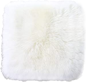 Sell4Style 18 Inch Australia Genuine Sheepskin Car Seat Cushion Covers Chair Pad One Seat Cover for car, Office Chair, or Plane (White)
