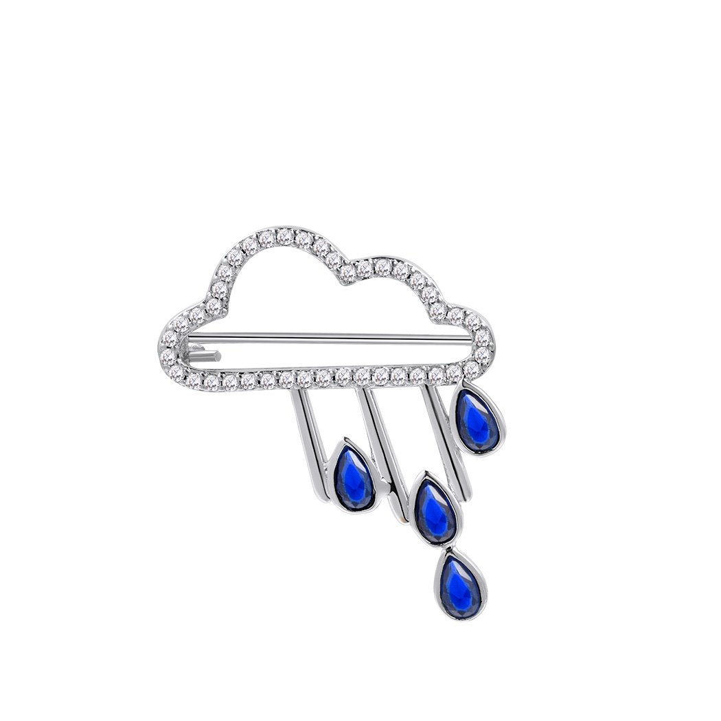 Suplight Rain Cloud Brooch Pin Platinum Plated Pin Nature Inspired Cute Brooch Kit Blue Unique Gift For Women