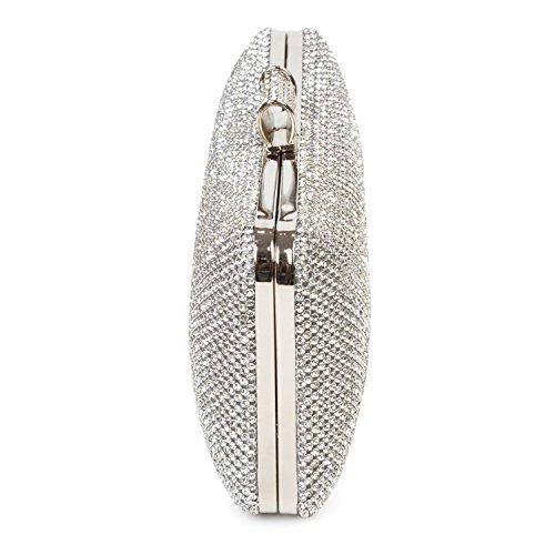 de Effet Diamante à Boîte Baigio Main Sac Parti Soirée Embrayage Prom Argent Sac Cristal Mariage Silver fRHww4Cxq