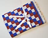 Crocheted Baby Blanket in Pink Blue and White by Custombearhug 37 inches square