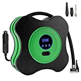 12V DC 150PSI Portable Electric Auto Air Compressor Pump and Car Tire Inflator for Car, Truck, Bicycle, RV and Other Inflatables(3 High-air Flow Nozzles & Adaptors Included,Green)