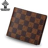 Men's Leather Wallet Slim Front Pocket Wallet Billfold RFID Blocking (Brown)