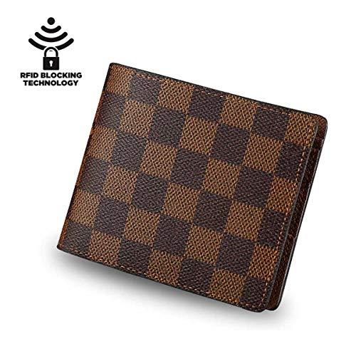 Men's Leather RFID Blocking Designer Slim Bifold Wallet (Brown)