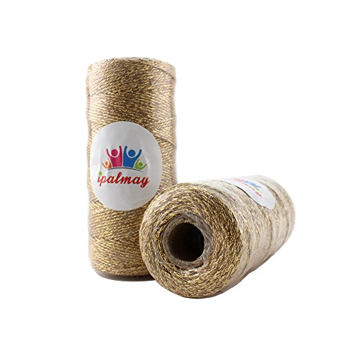 IPALMAY 100m Metallic Gold Bakers Twine Spool 3-Ply for DIY Crafts Arts or Gift Wrapping, Pack of 2 by Ipalmay