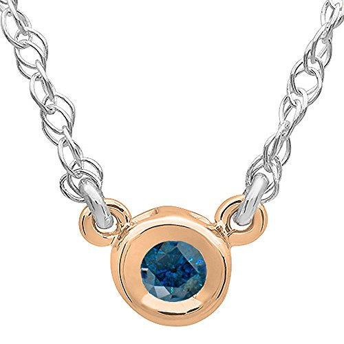 0.33 Carat (ctw) 14K Rose Gold Round Blue Diamond Ladies Bezel Set Solitaire Pendant 1/3 (0.33 Ct Bezel)