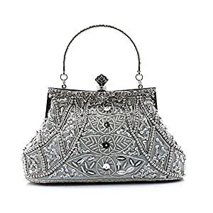 Hamkaw Women's Vintage Evening Clutch Beaded Bag, Suit for Cocktail Party Wedding Party