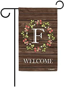 BAGEYOU Welcome Wreath Floral Spring Summer Decorative Garden Flag Monogram Initial F Decor Yard Banner Family Flag 12.5X18 Inch Printed Double Sided