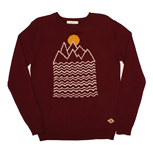 Sweater with Intarsia Knitted Mountain and Sun into the F...