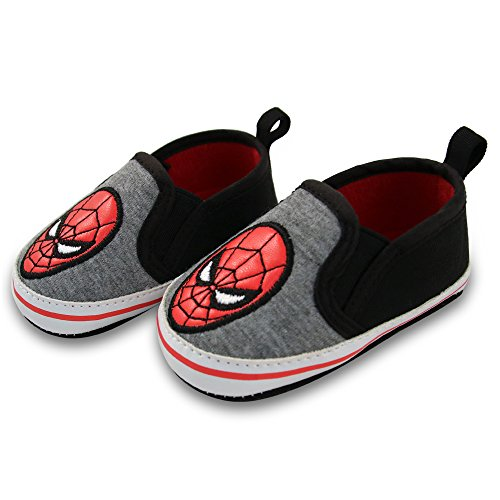 Marvel Baby Boys Spiderman Twin Gore Slip-on Shoes, Black/Gray, 9-12 Months