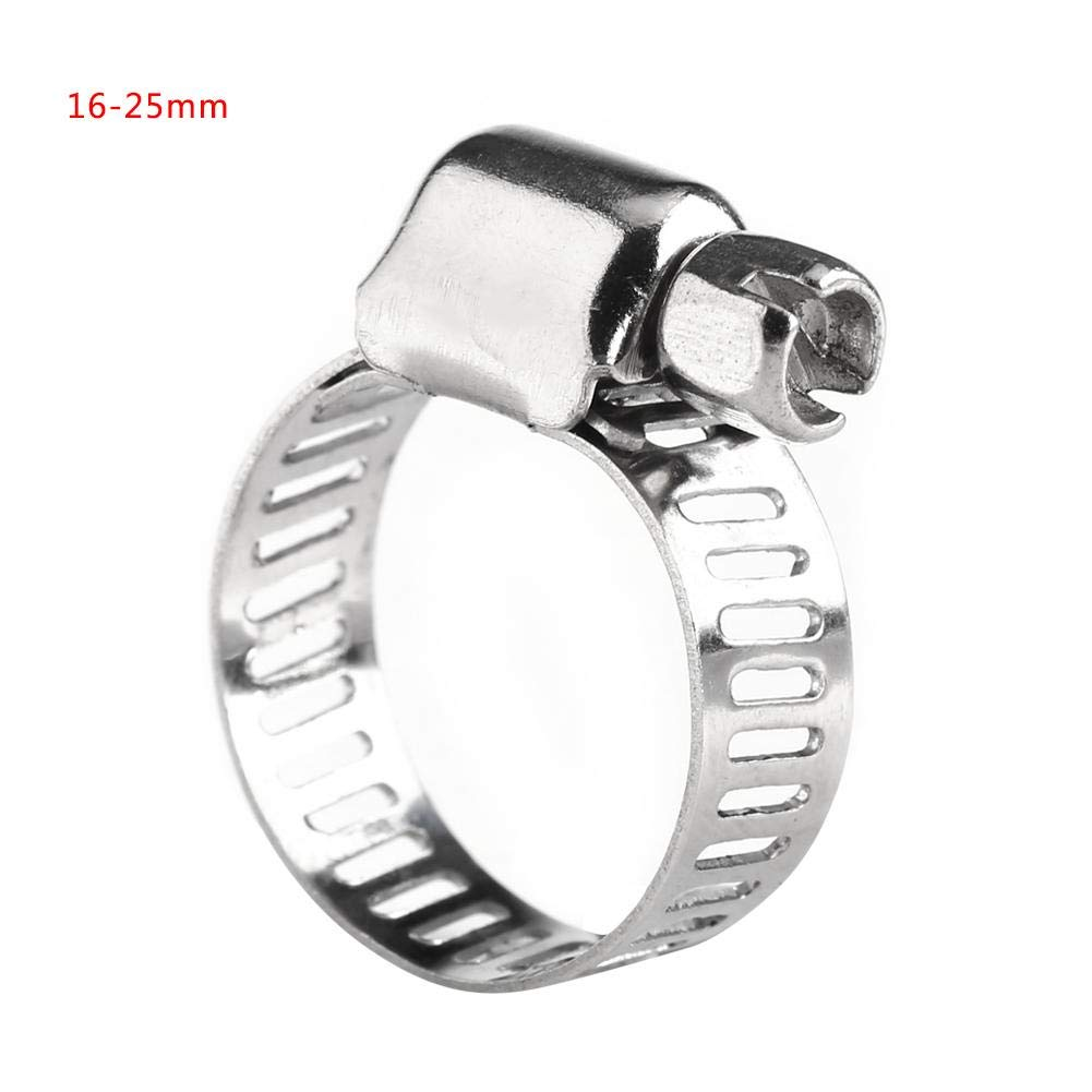 10pcs Hose Clip,Hose Fastener Stainless Steel Hose Clamp Adjustable Screw Band Hose Clamps Fuel Line Worm Gear Clips 16-25