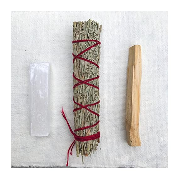 Sage Smudge Stick Kit - White Sage, Palo Santo, Mini Sage, Sage and Sweetgrass Smudging Sticks PLUS a Selenite Crystal & How to Guide for Cleansing your Home - Hand tied in California (Selenite) - SMUDGE STICK KIT: Our all natural sampler pack includes 4 smudge sticks and a selenite crystal - 2 white sage, 1 sage + sweetgrass, and a palo santo stick. Our sage and palo santo clear negative energy while sage and sweetgrass blesses your home with positive energy, love, and peace. Our smudging kit is the perfect way to try different smudge sticks. Each stick has its own woodsy, rustic, and earthy aroma. Non-toxic, vegan, and hand-tied in the USA. WILDHARVESTED, WHITE SAGE: Handpicked in California by a member of First Nation's American Metis during full flower season to ensure that the smoke from our white sage has the STRONGEST POTENCY. Our sage is PURE and 100% sustainable because we harvest during the optimal time of the plant's growth. We ask for the blessing of all good things to come from harvesting the newly matured leaf-clusters. Sage should be harvested properly with love, blessings, and sustainability. HOW TO GUIDE: Easy to follow, step-by-step instructions are included in each pack and will guide you through the simple process of smudging your home or yourself to help eliminate negative toxins or influences. - living-room-decor, living-room, home-decor - 51yx%2BhdtojL. SS570  -