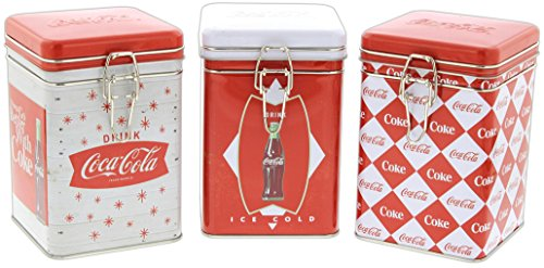 Set of 3 Tin Box Co Coca Cola Lock-Top Tin Containers Vintage Style Logo (Vintage Kitchen Collectibles)