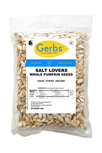 Salt Lovers Whole Pumpkin Seeds, 4 LBS by Gerbs – Top 12 Food Allergy Free & Non GMO - Vegan & Kosher Certified - Dry Roasted In-Shell Pepitas from United States ()