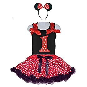 - 51yx  2Bb2L 2BL - Red/White Polka Dots Costumes for Birthday Party-Tutu w/Tank Top & Headband